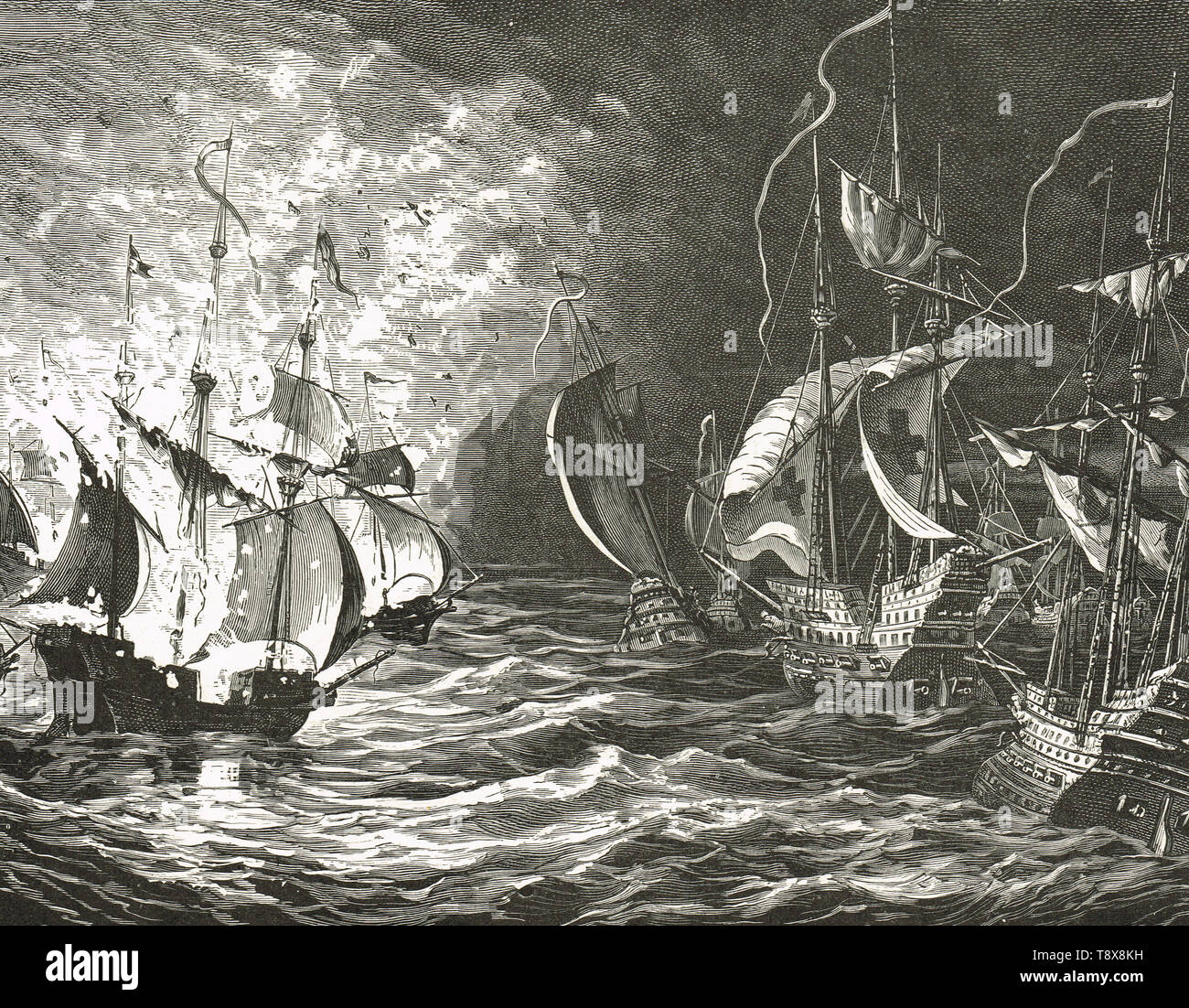 English fleet firing on the Spanish Armada, 1588 - Stock Image