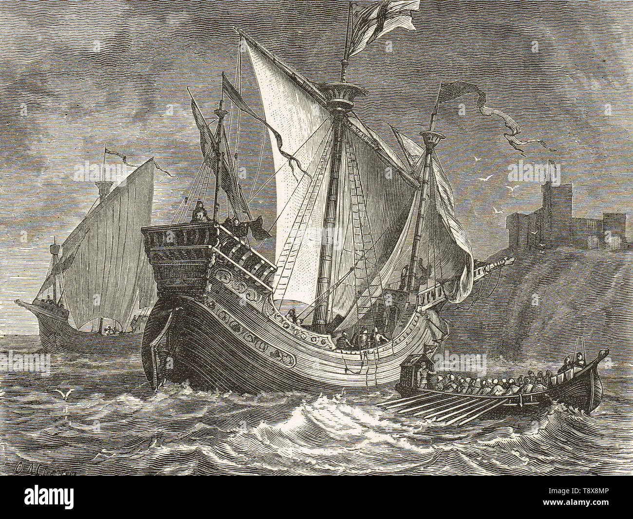 English ships of the Fifteenth century - Stock Image