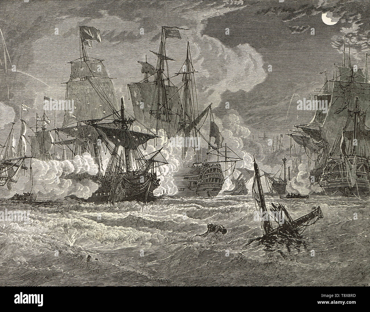 The Battle of Negapatam, 3 August 1758, an indecisive battle between a British squadron under Vice-Admiral George Pocock and French squadron under Comte d'Aché in Pondicherry roads off the Carnatic coast of India near Nagapatam during the Seven Years' War. - Stock Image