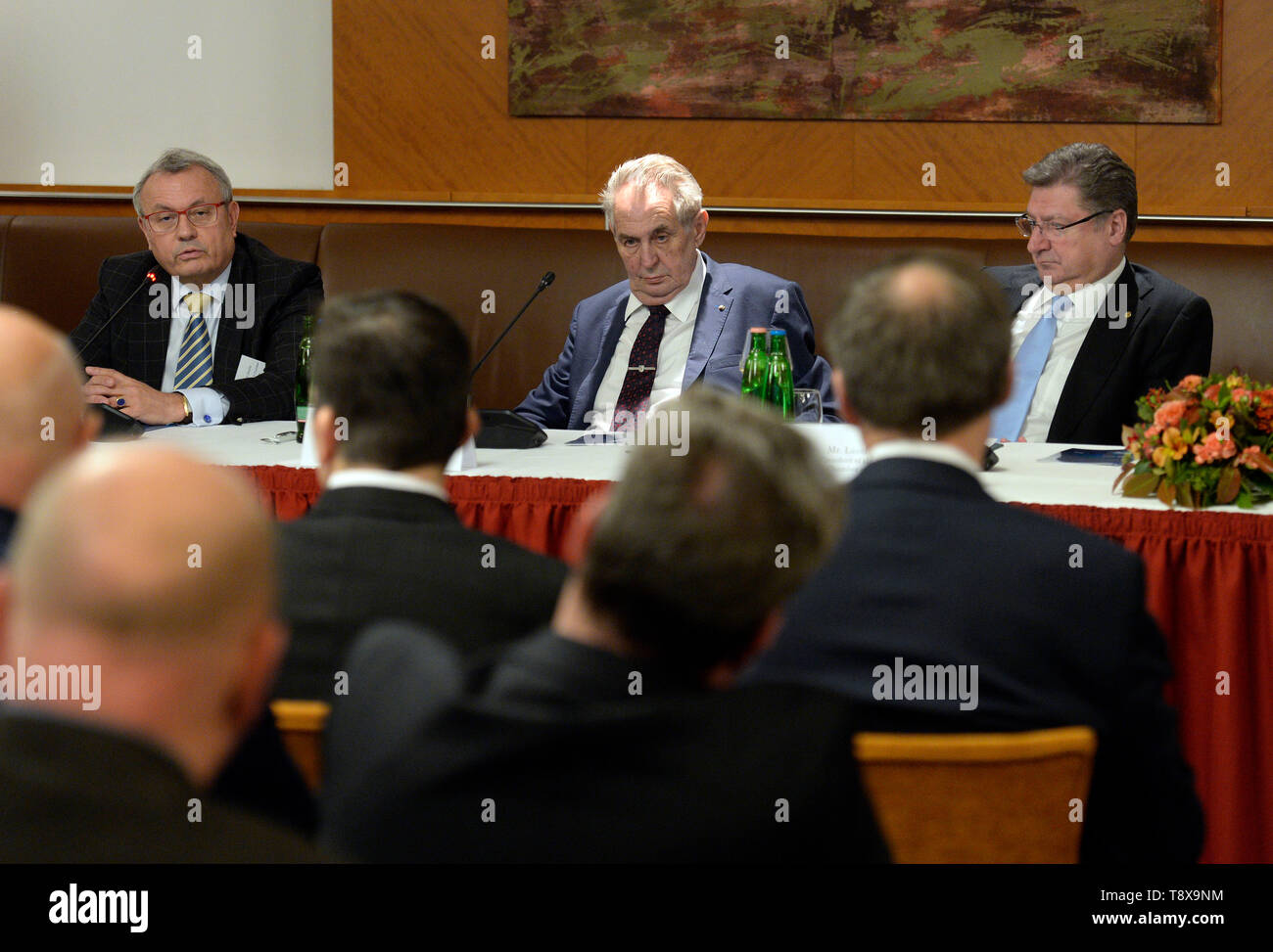 Budapest, Hungary. 14th May, 2019. L-R Head of Czech chamber of commerce Vladimir Dlouhy, Czech President Milos Zeman and Head of Hungarian chamber of commerce Laszlo Parragh debate with Czech and Hungarian entrepreneurs in Budapest, Hungary, on May 14, 2019. Czech President launched his three-day visit to Hungary in this day. Credit: Katerina Sulova/CTK Photo/Alamy Live News Stock Photo