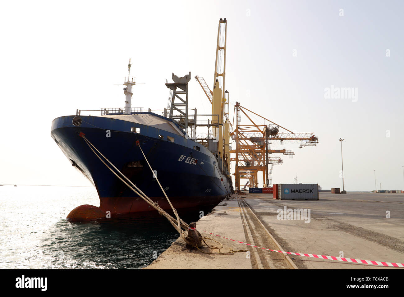 (190515) --  HODEIDAH, May 15, 2019 (Xinhua) -- A ship is seen docked at the Hodeidah port in Hodeidah, Yemen, on May 14, 2019. The UN monitoring mission in Yemen on Tuesday welcomed the Houthi rebels' handover of the security of Hodeidah ports to the coast guards. (Xinhua) - Stock Image