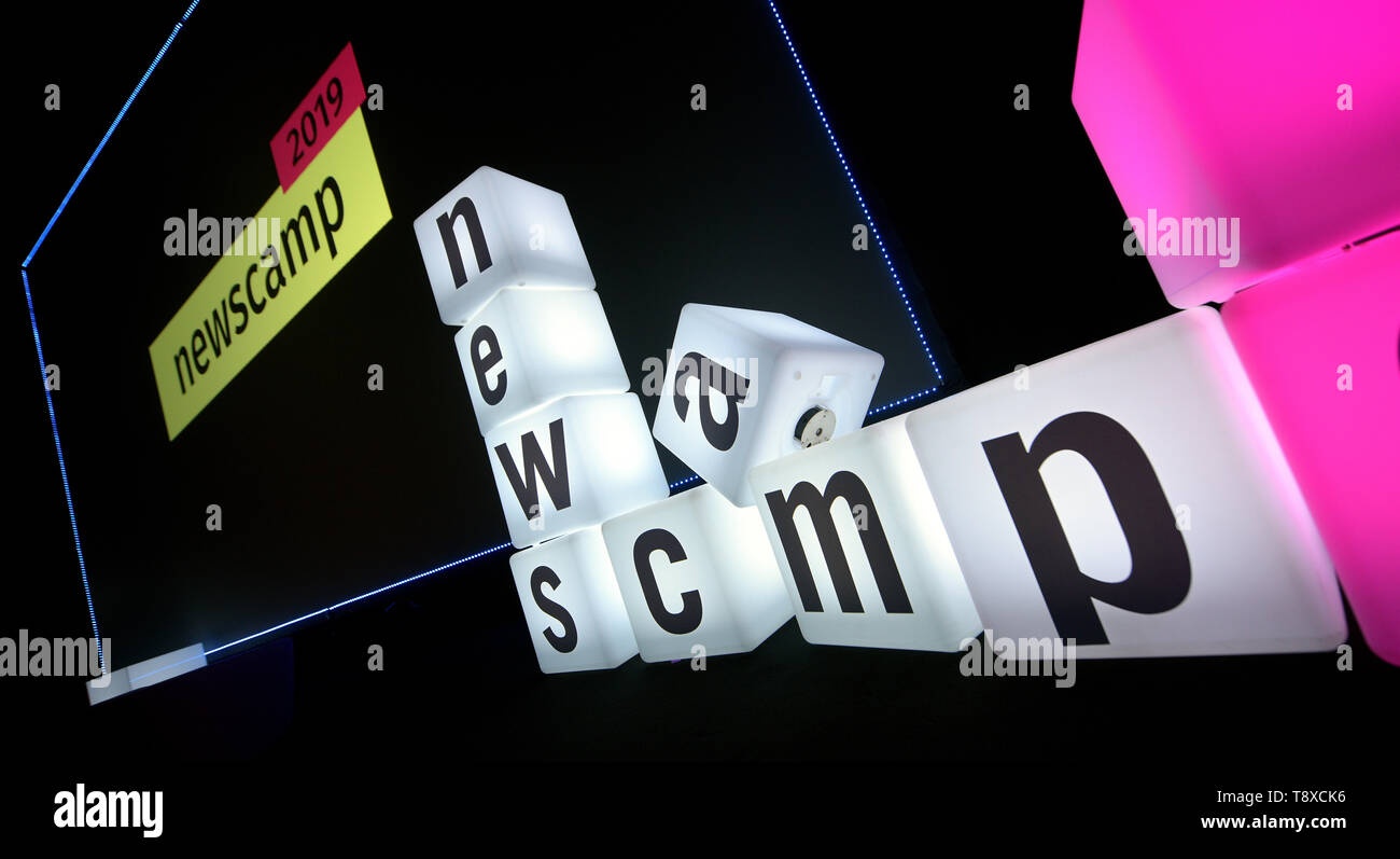 Augsburg, Germany. 15th May, 2019. Illuminated letters are on stage at the newscamp 2019. The two-day digital conference for publishers and media companies will discuss trends and developments in the media industry. Credit: Stefan Puchner/dpa/Alamy Live News - Stock Image