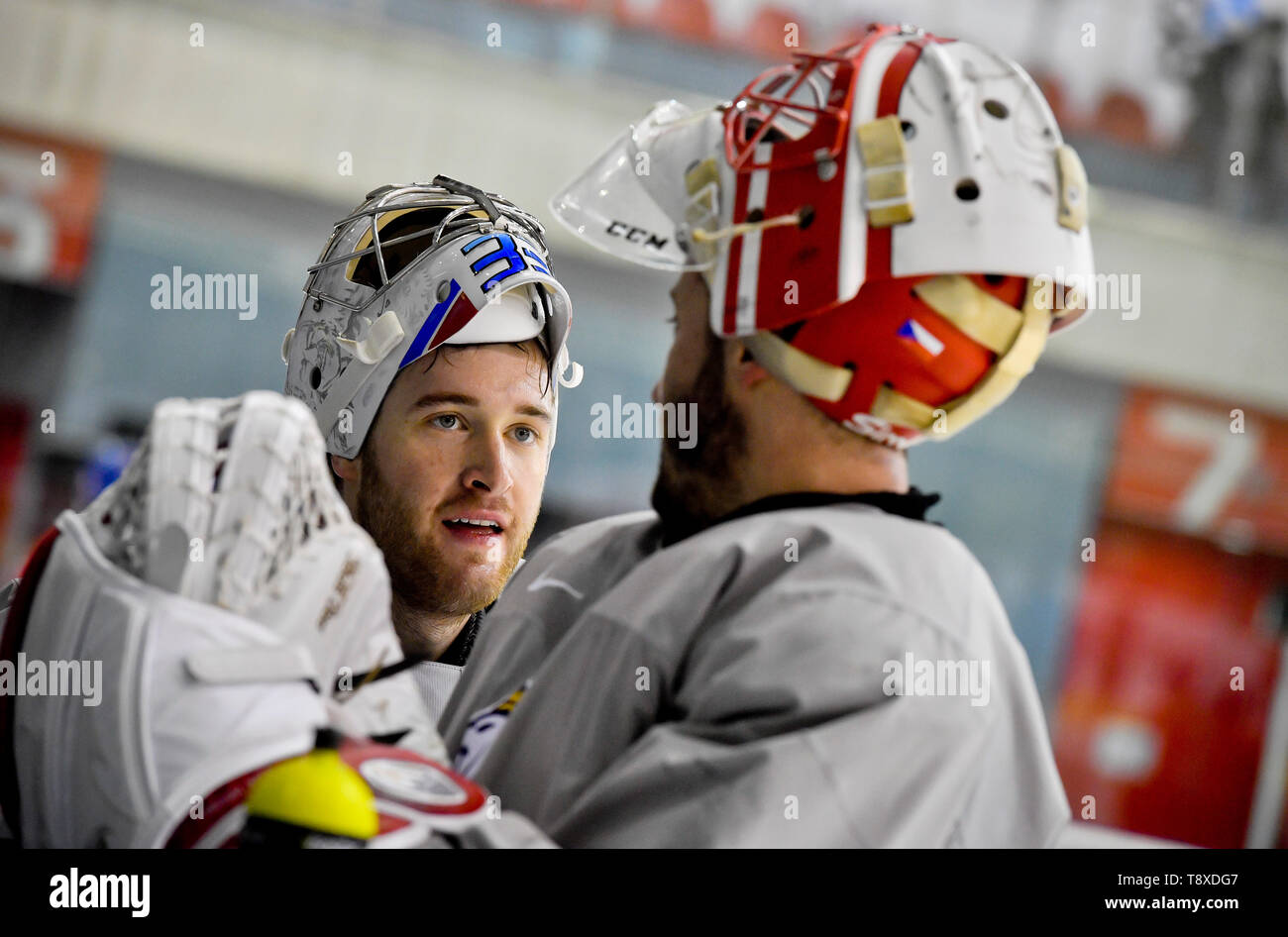 Bratislava, Slovakia. 15th May, 2019. Czech players L-R Pavel Francouz and Simon Hrubec attend a training session of the Czech national team within the 2019 IIHF World Championship in Bratislava, Slovakia, on May 15, 2019, one day prior to the match against Latvia. Credit: Vit Simanek/CTK Photo/Alamy Live News Stock Photo