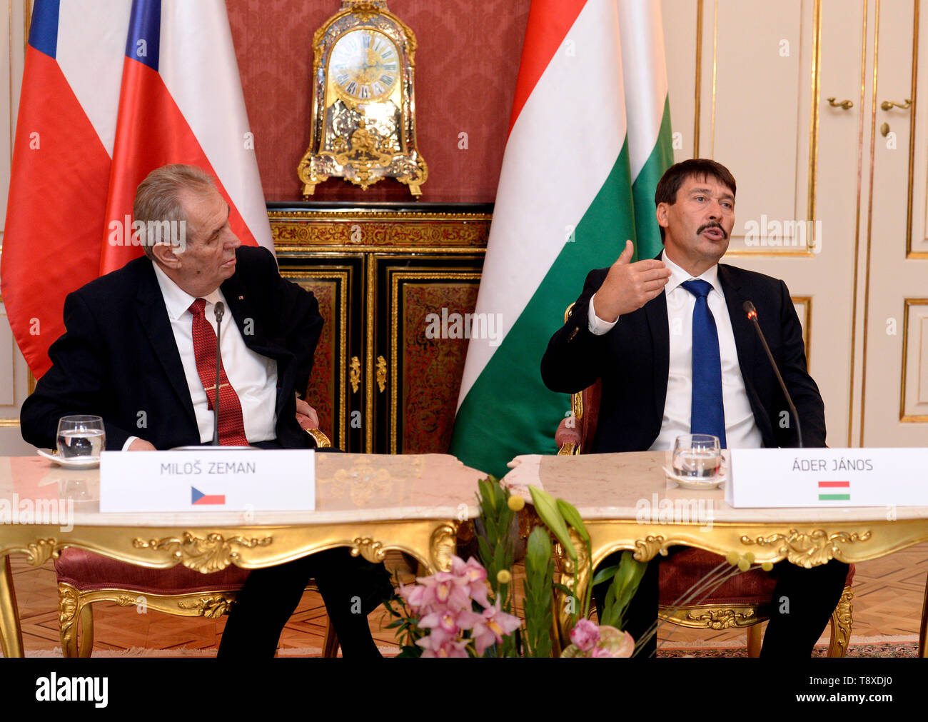 Budapest, Hungary. 15th May, 2019. Czech President Milos Zeman (left) and Hungarian President Janos Ader (right) talk during a press conference after their meeting on May 15, 2019, in Budapest, Hungary. Credit: Katerina Sulova/CTK Photo/Alamy Live News Stock Photo