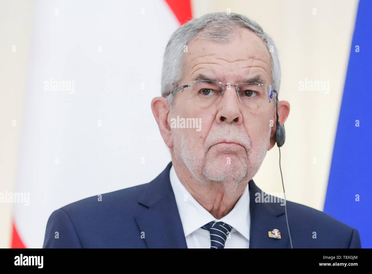 Sochi, Russia. 15th May, 2019. SOCHI, RUSSIA - MAY 15, 2019: Austria's President Alexander Van der Bellen gives a press conference folowing his meeting with Russia's President Vladimir Putin at the Rus health resort. Mikhail Metzel/TASS Credit: ITAR-TASS News Agency/Alamy Live News - Stock Image
