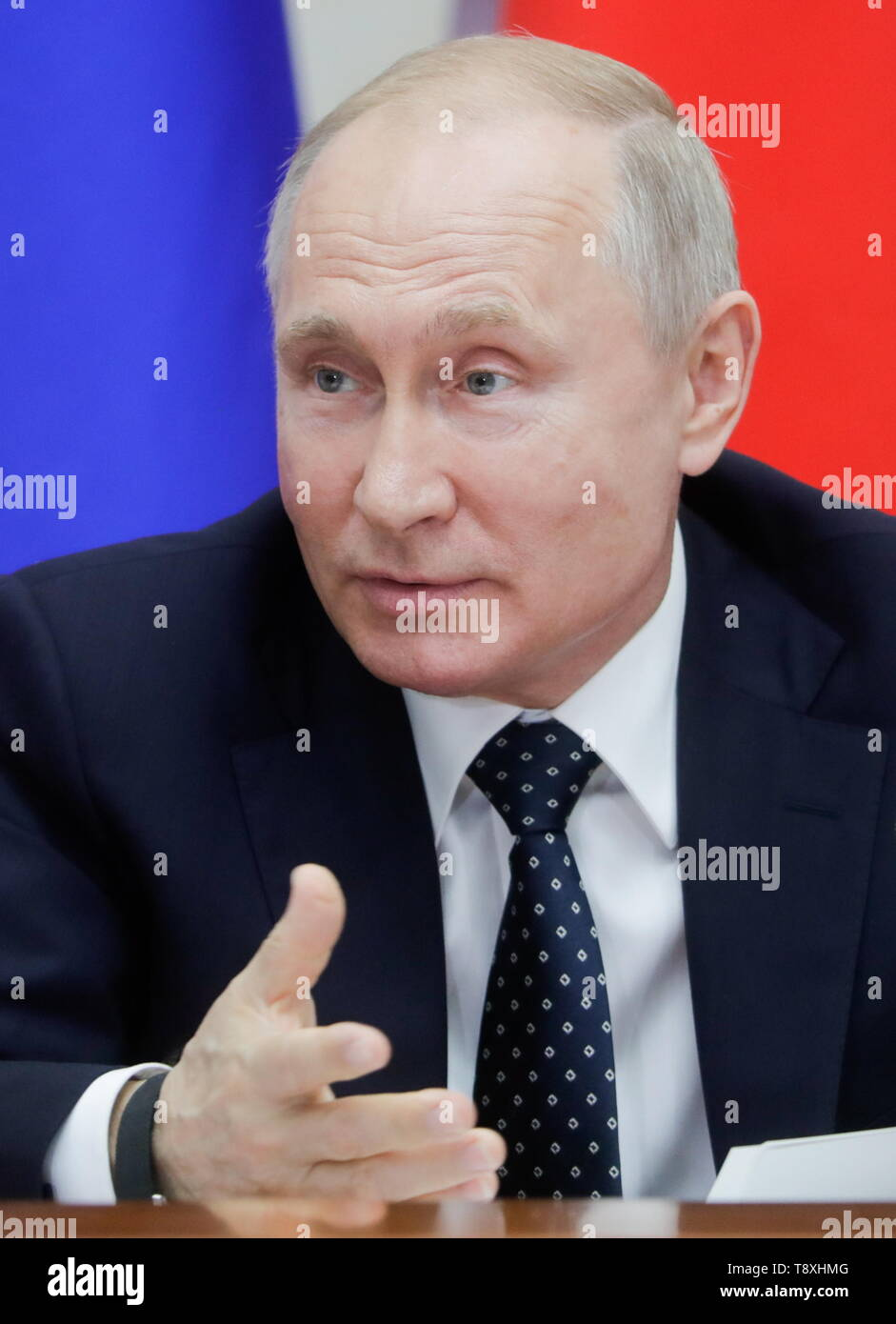 Sochi, Russia. 15th May, 2019. SOCHI, RUSSIA - MAY 15, 2019: Russia's President Vladimir Putin attends the inaugural meeting of the Sochi Dialogue Forum. Mikhail Metzel/TASS Credit: ITAR-TASS News Agency/Alamy Live News Stock Photo