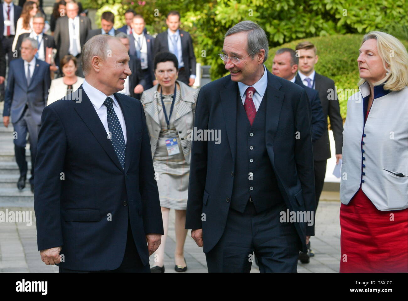 Sochi, Russia. 15th May, 2019. SOCHI, RUSSIA - MAY 15, 2019: Russia's President Vladimir Putin, Christoph Leitl, President of the Association of European Chambers of Commerce and Industry (Eurochambres), and Austria's Foreign Minister Karin Kneissl (L-R front) after the inaugural meeting of the Sochi Dialogue Forum. Alexei Druzhinin/Russian Presidential Press and Information Office/TASS Credit: ITAR-TASS News Agency/Alamy Live News - Stock Image