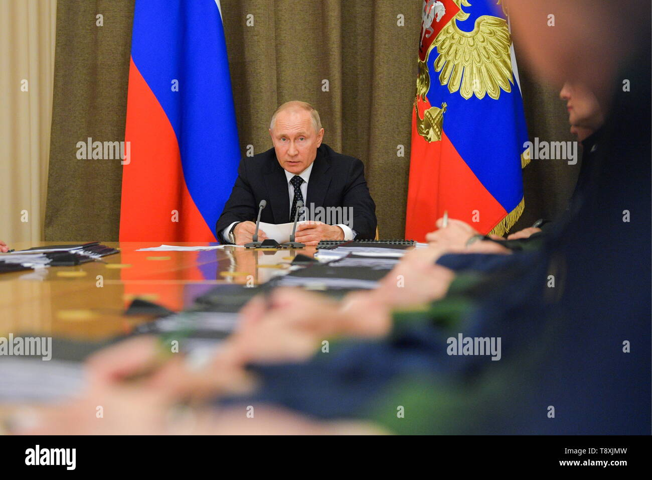 Sochi, Russia. 15th May, 2019. SOCHI, RUSSIA - MAY 15, 2019: Russia's President Vladimir Putin holds a meeting at Bocharov Ruchei residence to discuss military aviation issues. Alexei Druzhinin/Russian Presidential Press and Information Office/TASS Credit: ITAR-TASS News Agency/Alamy Live News - Stock Image