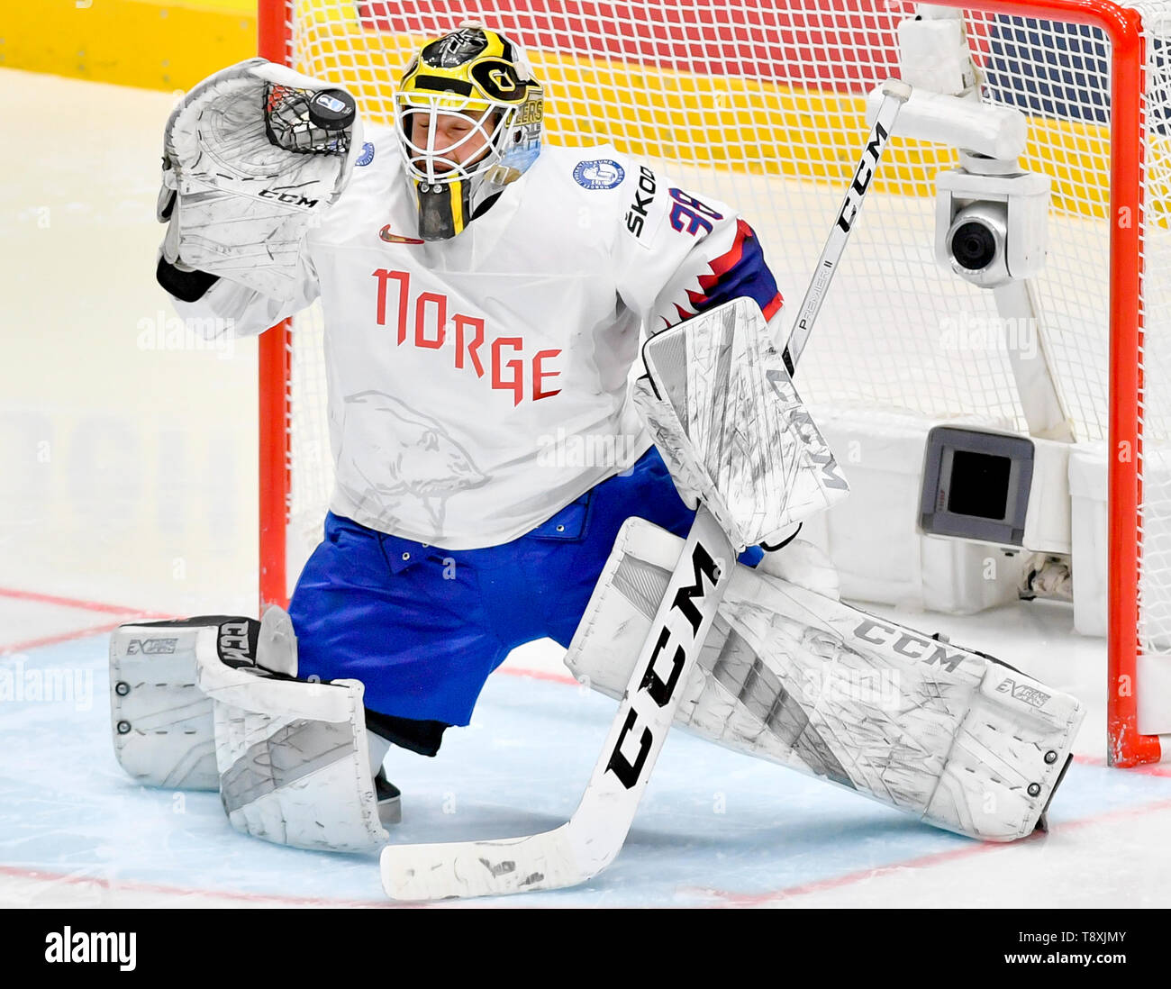 Bratislava, Slovakia. 15th May, 2019. Goaltender Henrik Holm (NOR) in action during the match between Switzerland and Norway within the 2019 IIHF World Championship in Bratislava, Slovakia, on May 15, 2019. Credit: Vit Simanek/CTK Photo/Alamy Live News Stock Photo
