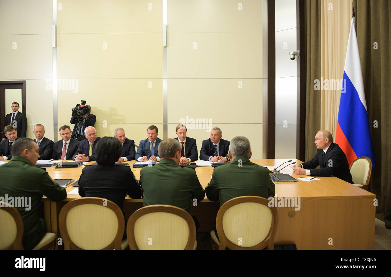 Sochi, Russia. 15th May, 2019. SOCHI, RUSSIA - MAY 15, 2019: Russia's President Vladimir Putin (R) holds a meeting at Bocharov Ruchei residence to discuss military aviation issues. Alexei Druzhinin/Russian Presidential Press and Information Office/TASS Credit: ITAR-TASS News Agency/Alamy Live News - Stock Image