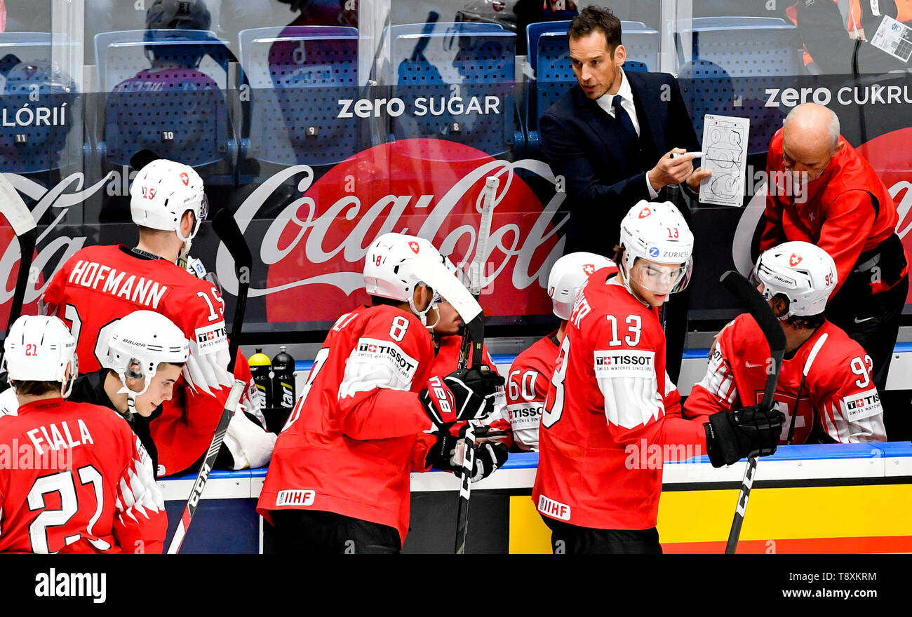 Swiss head coach Patrick Fischer instructs his players the match between Switzerland and Norway within the 2019 IIHF World Championship in Bratislava, Slovakia, on May 15, 2019. (CTK Photo/Vit Simanek) Stock Photo