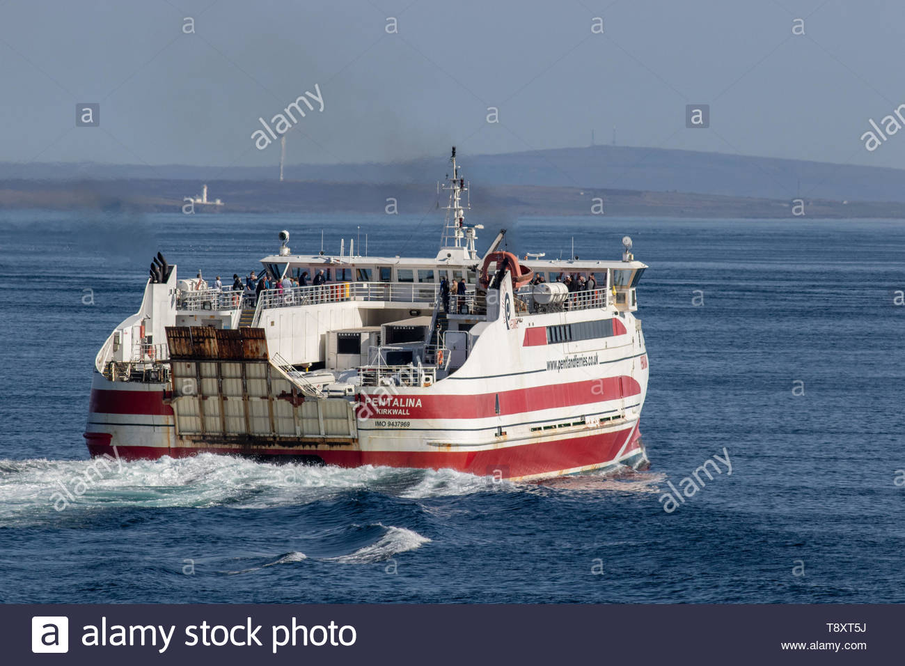 MV Pentalina of Pentland Ferries departing Gills Bay, Caithness, Scotland for St Margarets Hope, Orkney, Scotland - Stock Image