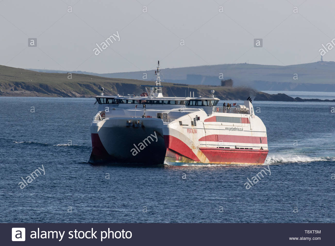 MV Pentalina of Pentland Ferries passing the island of Stroma in the Pentland Firth, North Scotland - Stock Image