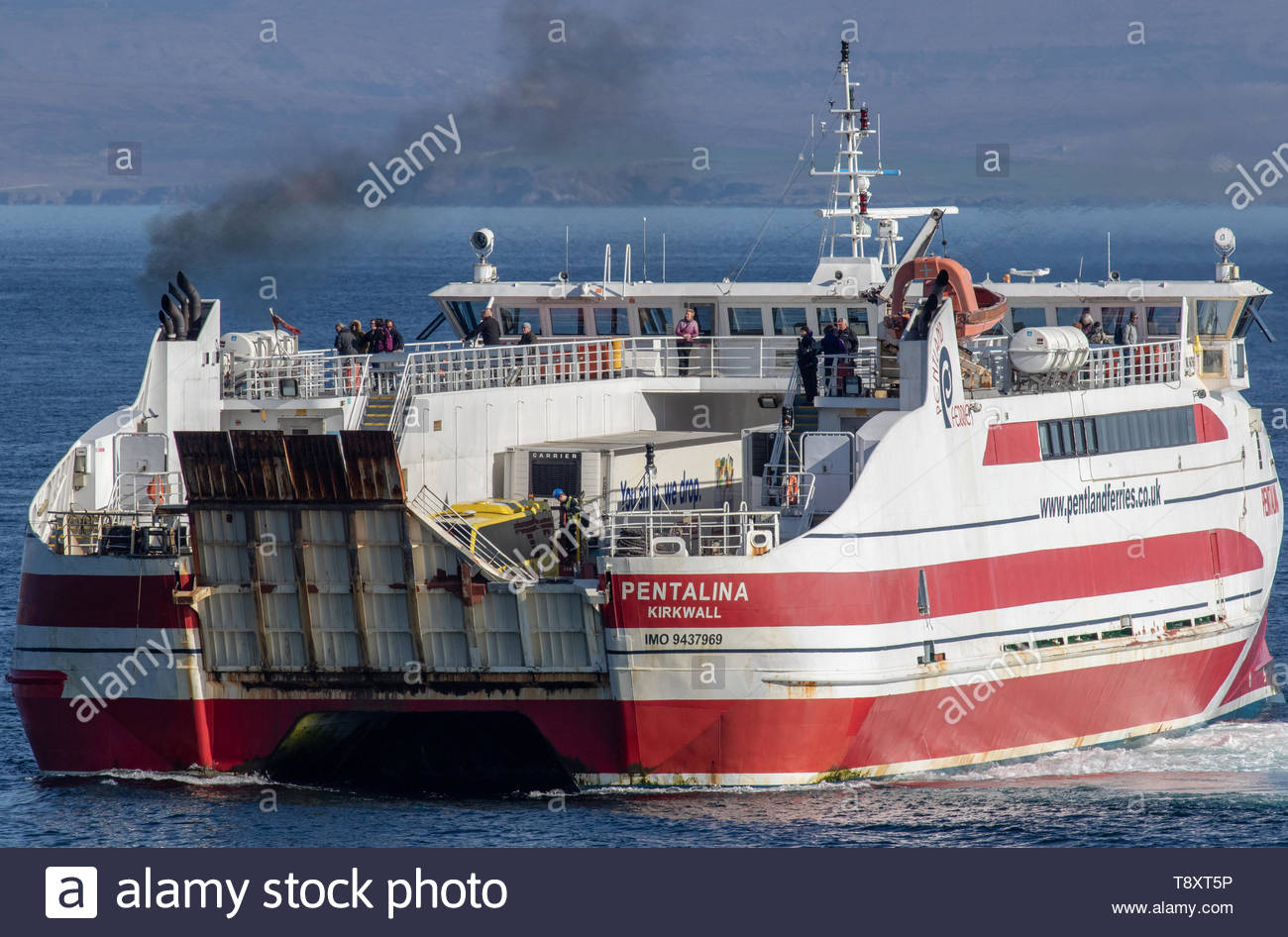 MV Pentalina of Pentland Ferries arriving Gills Bay, Caithness, Scotland from St Margarets Hope, Orkney, Scotland - Stock Image