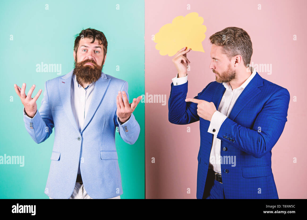 Business misunderstanding. Business team work on solving problem. Share opinion speech bubble copy space. Businessmen thoughtful face thinking about business problem. Business in trouble concept. - Stock Image