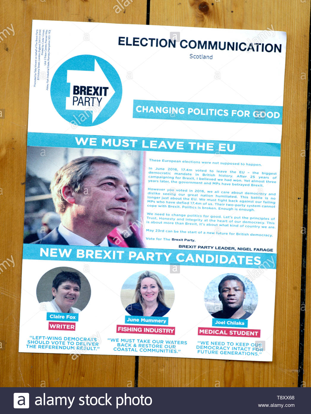 The Brexit Party European elections 2019 campaign leaflet Stock Photo