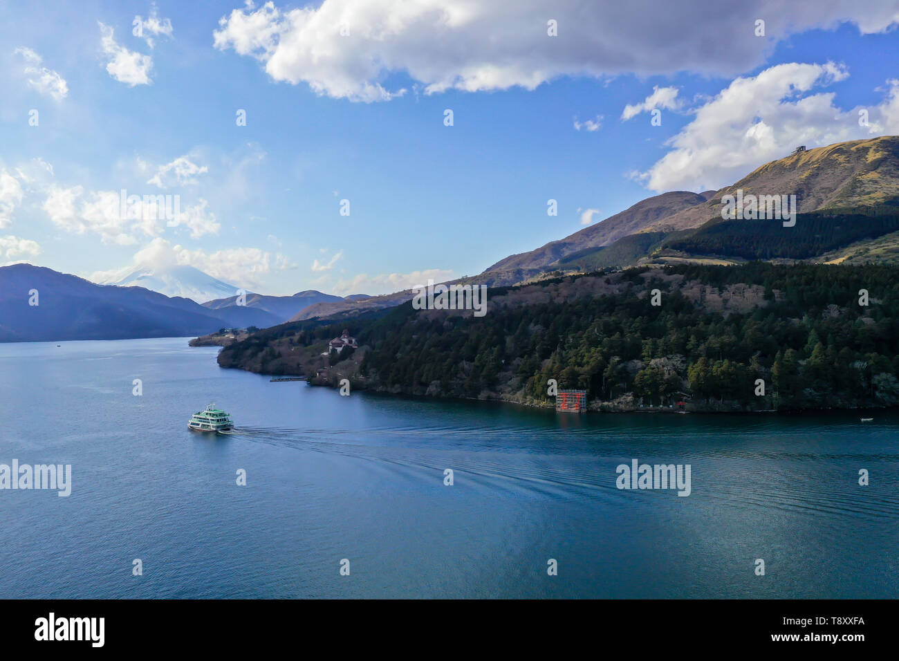 Fujisan across lake Ashi Stock Photo