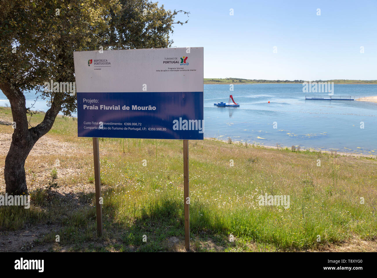 Sign for freshwater beach on reservoir lake at Mourao , Alentejo Central, Evora district, Portugal, southern Europe - Stock Image