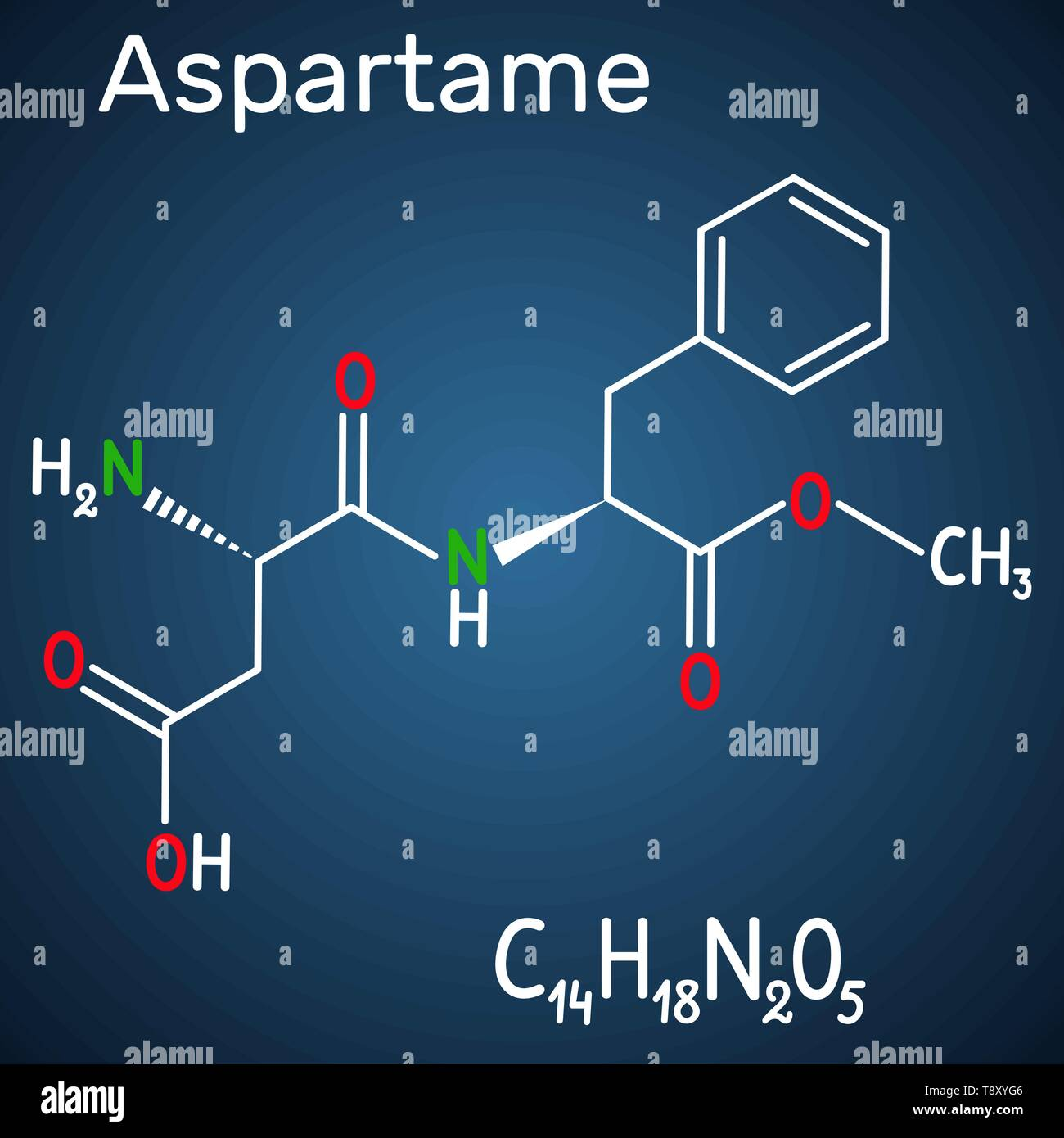 Aspartame, APM, molecule. Sugar substitute and E951. Structural chemical formula and molecule model on the dark blue background. Vector illustration - Stock Image
