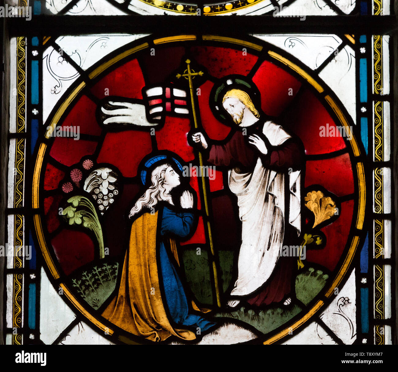 Stained glass window roundel Jesus Christ and Mary Magdelene 'Noli me Tangere'  James Powell and Sone, 1905  church of Saint Mary, Potterne, Wiltshire - Stock Image
