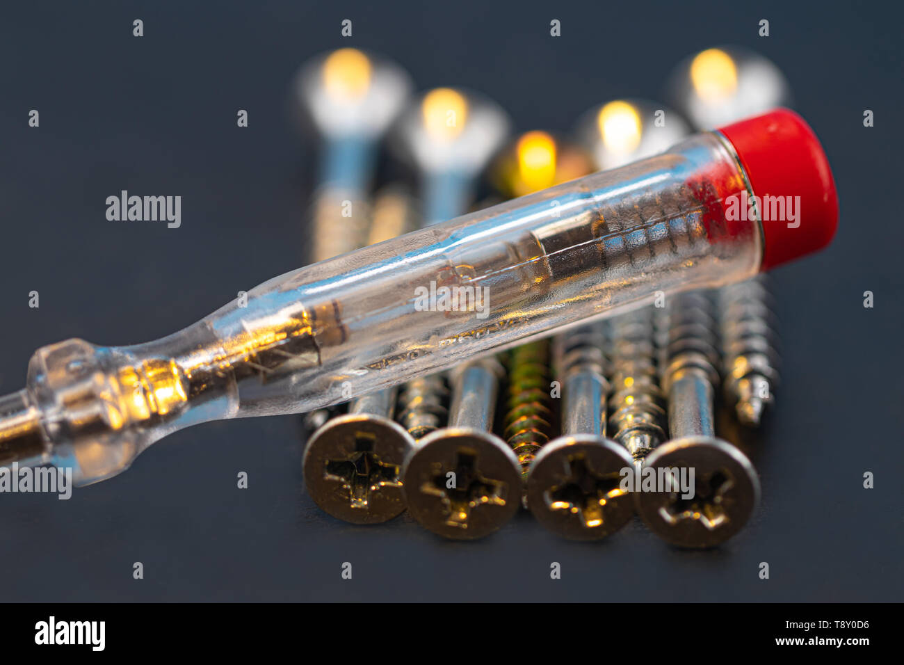 Phase auditor with screw close up detail - Stock Image