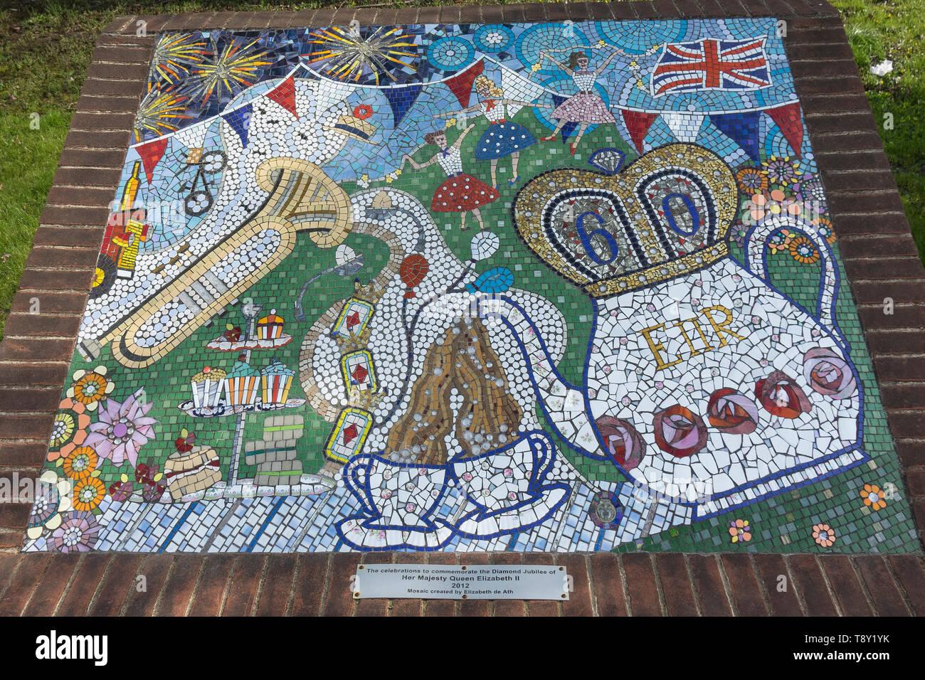 England, Hampshire, Rowlands castle, 2012 Diamond Jubilee mosaic - Stock Image