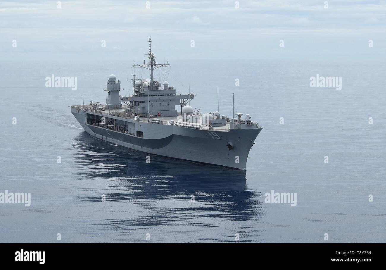 The U.S. Navy Blue Ridge-class amphibious command ship USS Blue Ridge during patrol April 29, 2019 in the South China Sea. - Stock Image
