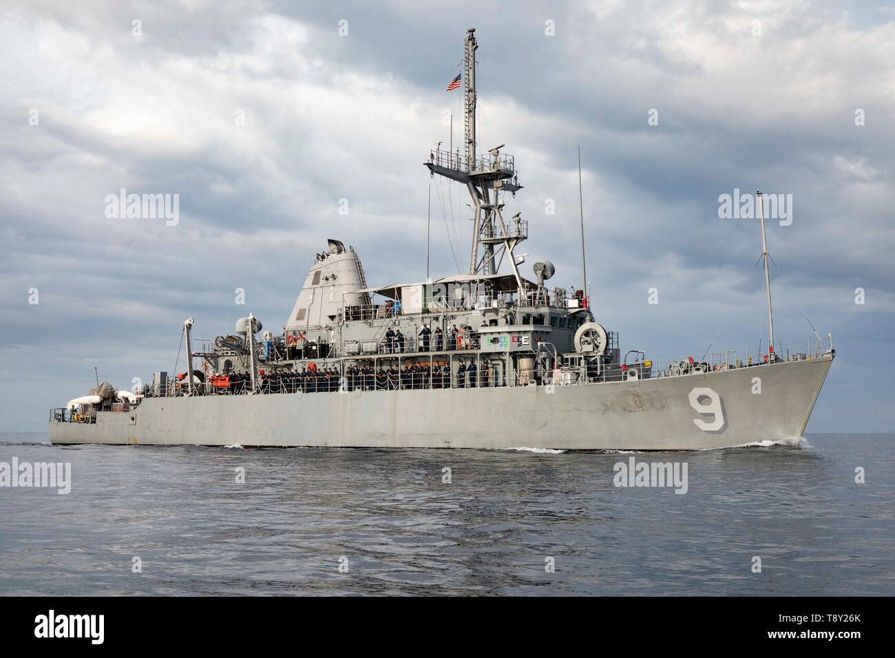The U.S. Navy Avenger-class mine counter measure ship USS Pioneer during patrol May 8, 2019 in the South China Sea. - Stock Image