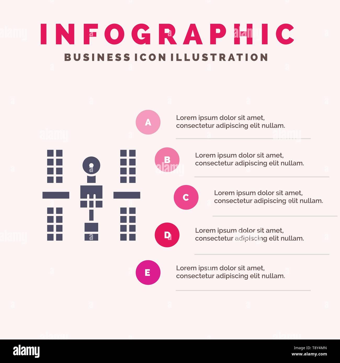 Complex, Orbital, Platform, Satellite, Space Solid Icon Infographics 5 Steps Presentation Background - Stock Image