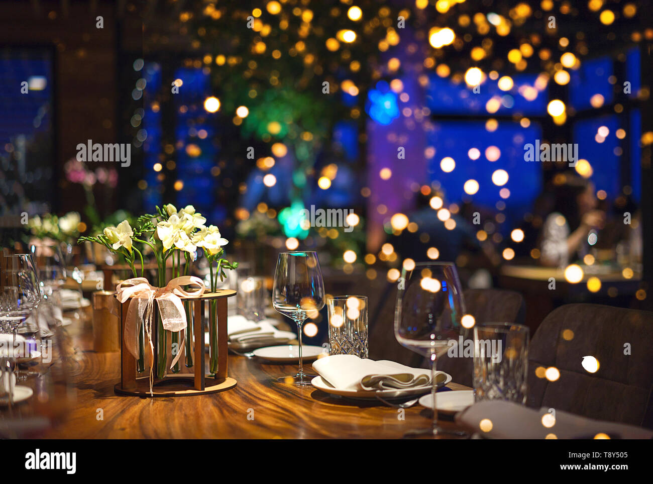 Blurred Background Of People Sitting At Restaurant Bar Or Night