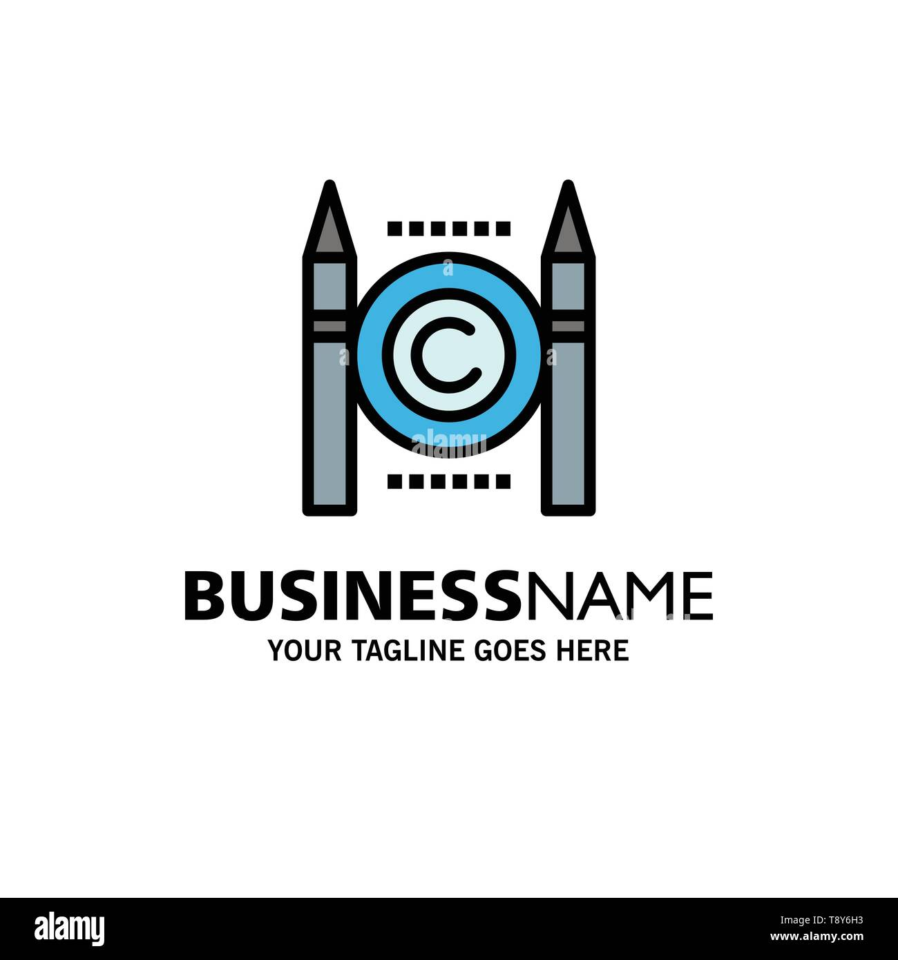 Business, Conflict, Copyright, Digital Business Logo Template. Flat Color - Stock Image
