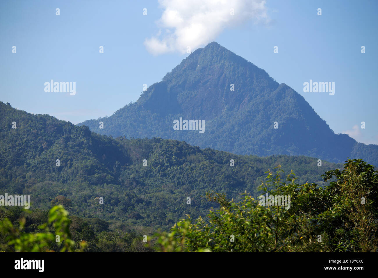 Mount Nunkok in Sabah Malaysia which is sometimes called Anak Kinabalu as it lies closely beneath it seen from Melangkap - Stock Image