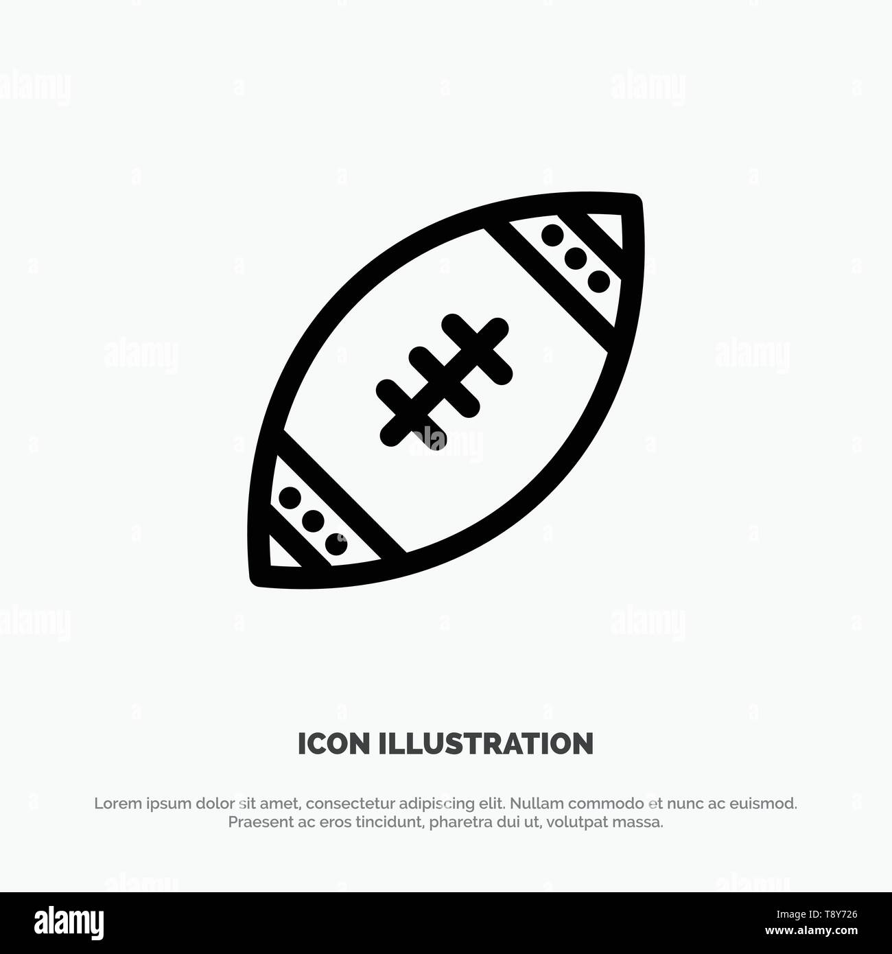 American, Ball, Football, Nfl, Rugby Line Icon Vector - Stock Image