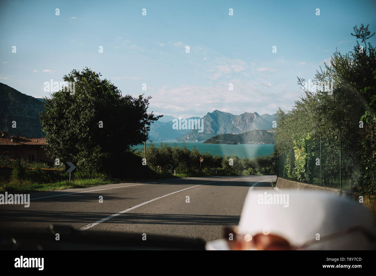 driving a car through Lobardy in Italy, Lake Iseo - Stock Image