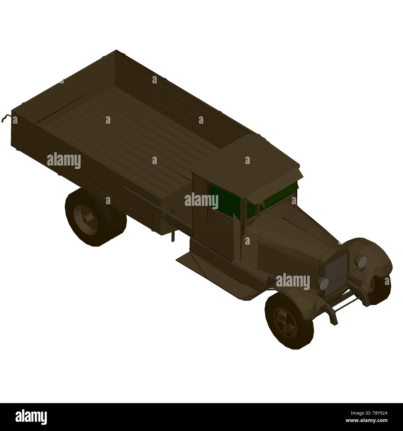 Vector illustration of a vintage truck in brown. 3D. Isometric view - Stock Image