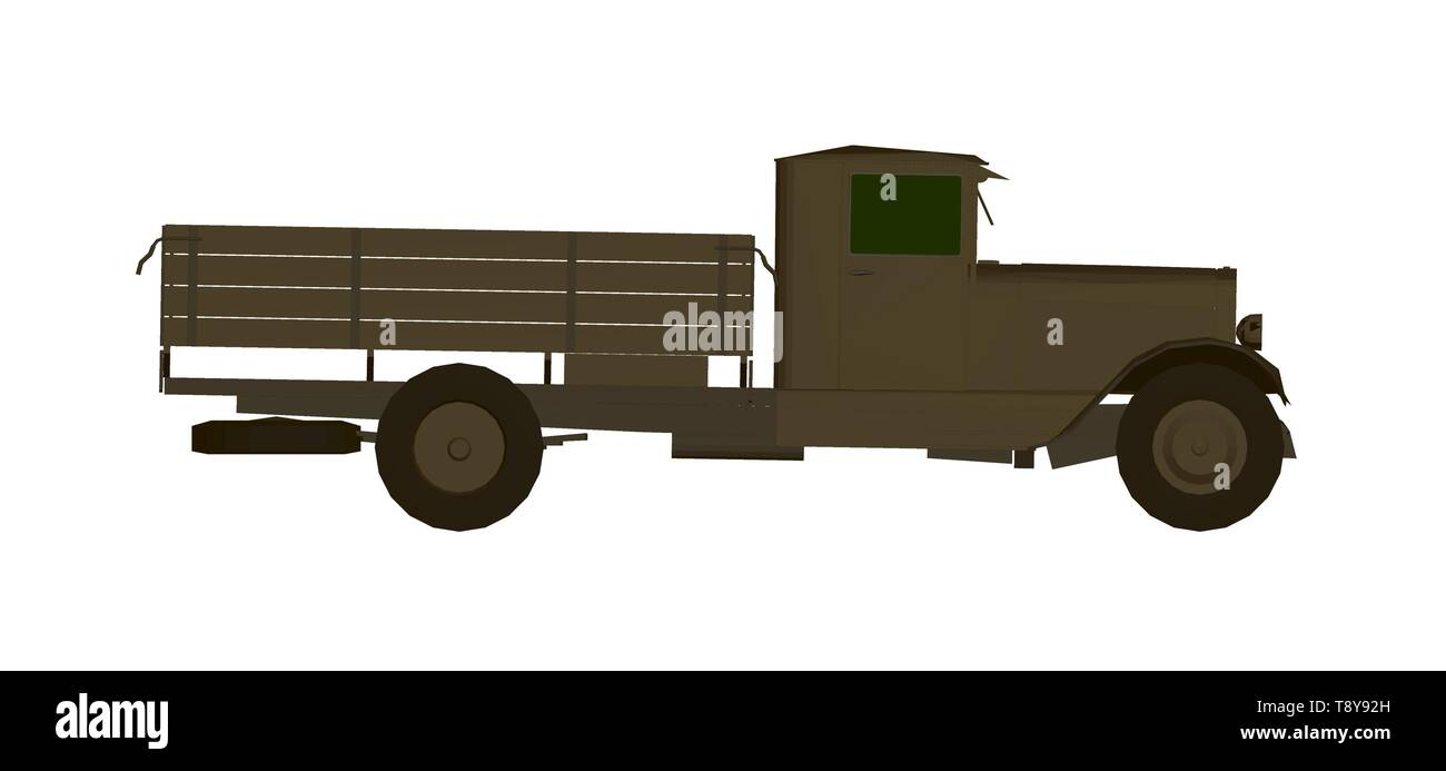 Vector illustration of a vintage truck in brown. 3D Side view - Stock Image