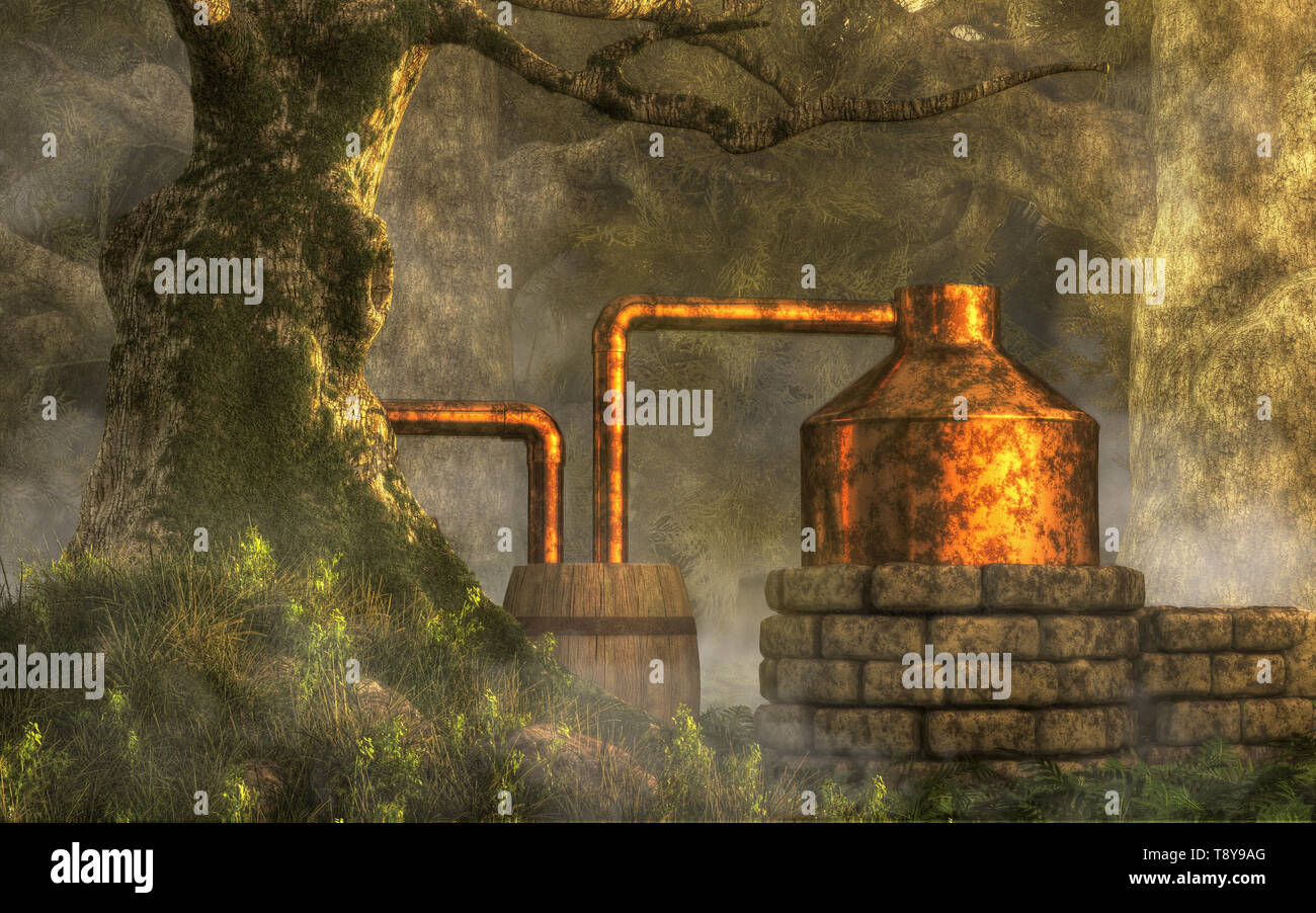 In a dense forest with moss covered trees, a bootlegger has constructed a moonshine still from stone, copper, and a couple of wooden barrels - Stock Image
