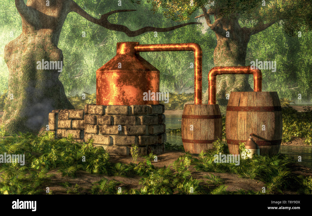 In a dense forest with moss covered trees, a bootlegger has constructed a moonshine still from stone, copper, and a couple of wooden barrels. Stock Photo