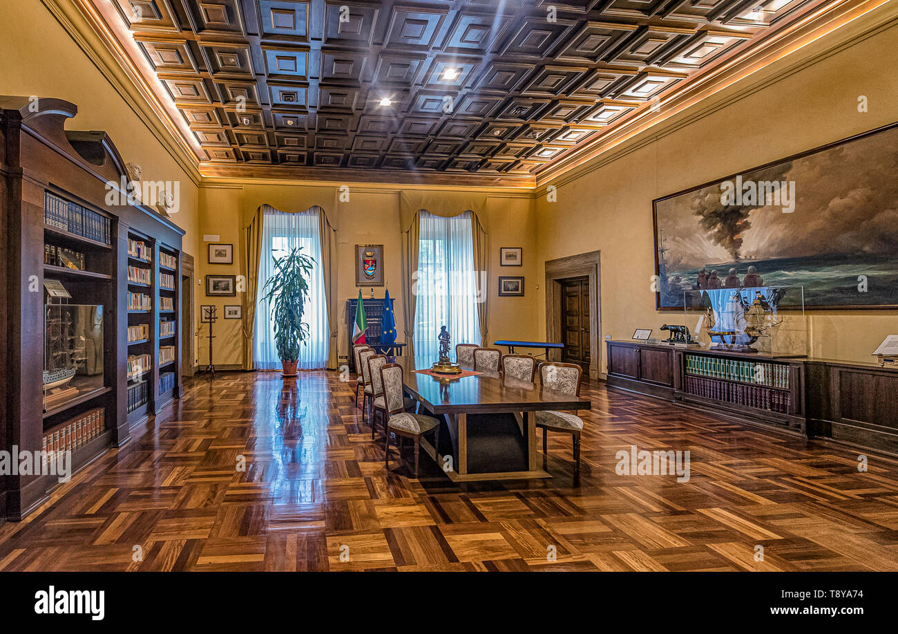 A meeting hall at the first floor of the sixteenth-century Palazzo Salviati, now home to the Centro Alti Studi della Difesa, in Rome, Italy Stock Photo