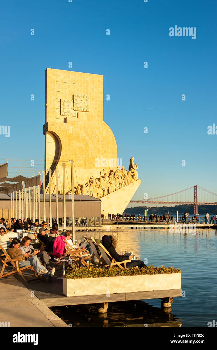 Monument to the Discoveries (Padrao dos Descobrimentos) by architect Cottinelli Telmo and the sculptor Leopoldo de Almeida, facing the Tagus river. Be - Stock Image