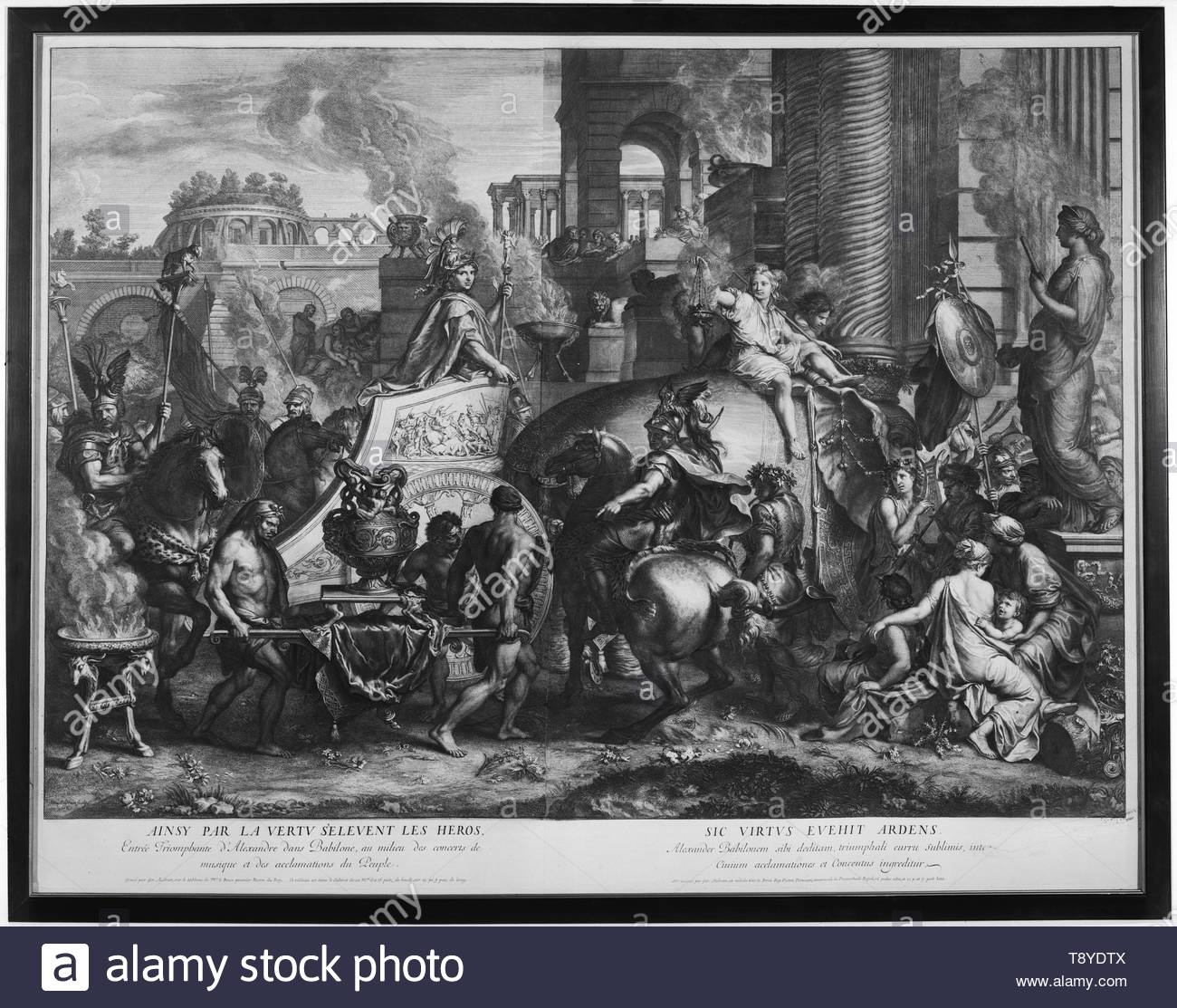 Audran, Girard (French, 1640-1703) (author of design) [printmaker]-Entry of Alexander into Babylon, Image 1 - Stock Image