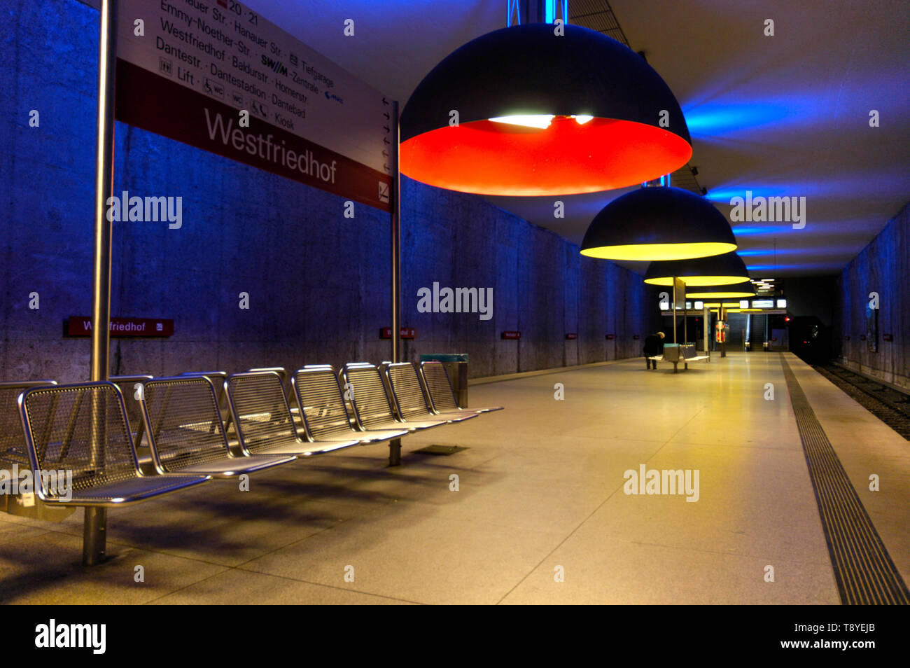 Colorful subway station Westfriedhof in Munich, Germany Stock Photo