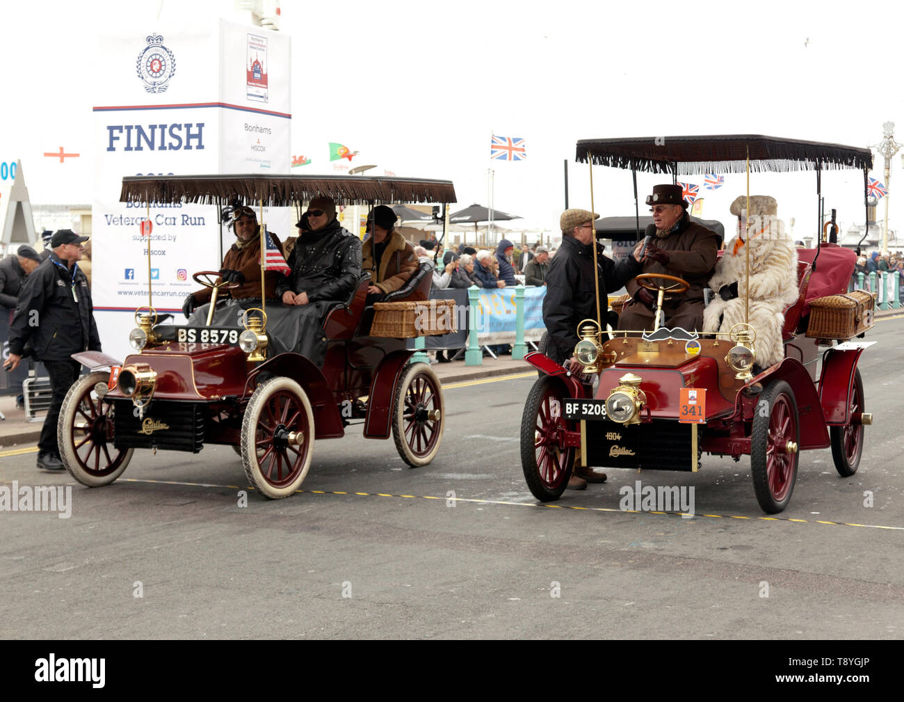 Two 1904 Cadillacs  lined up at the finish of the 2018 London to Brighton Veteran Car Run - Stock Image