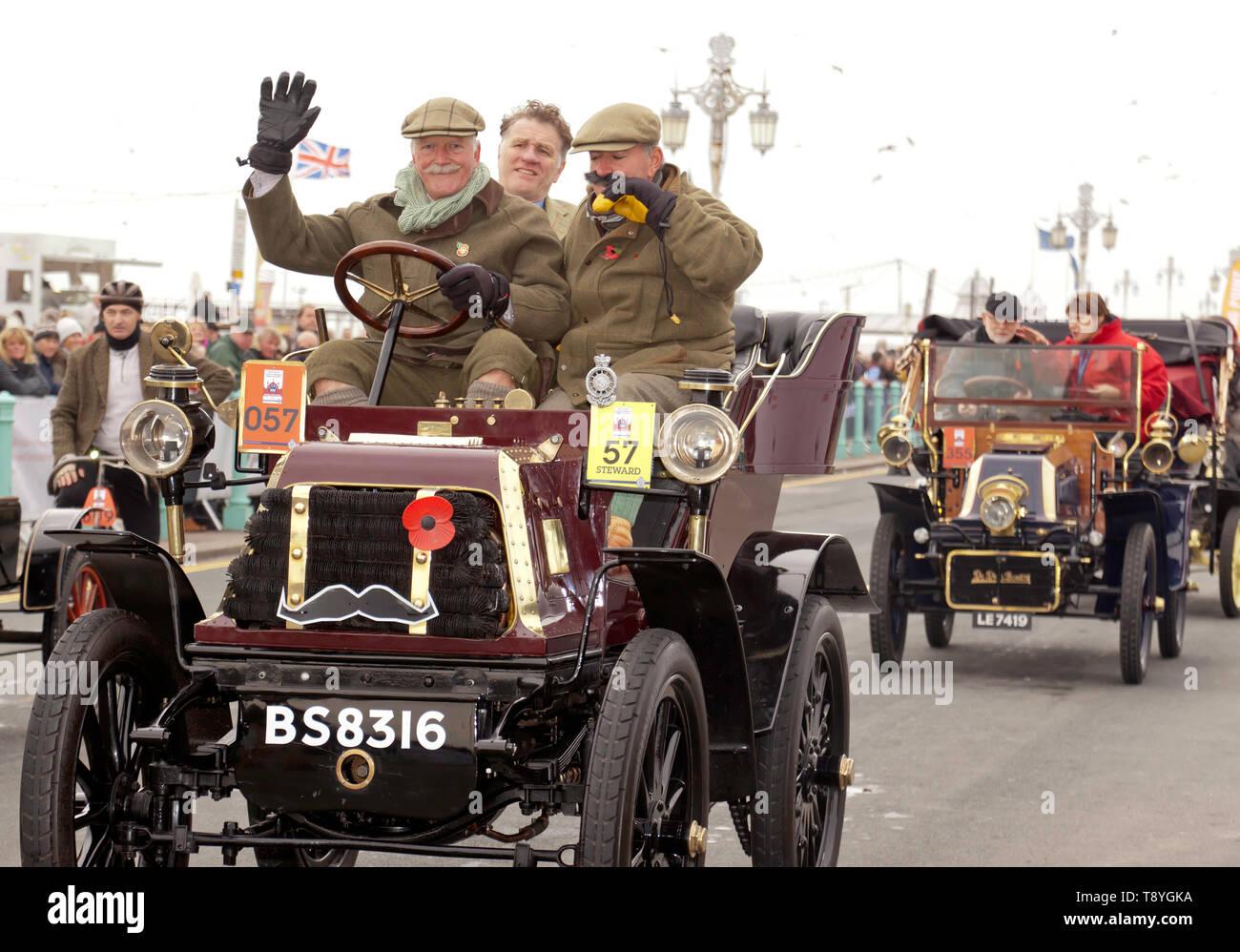 Mr Miles Wade driving a 1900 Daimler at the finish of the 2018 London to Brighton Veteran Car Run - Stock Image