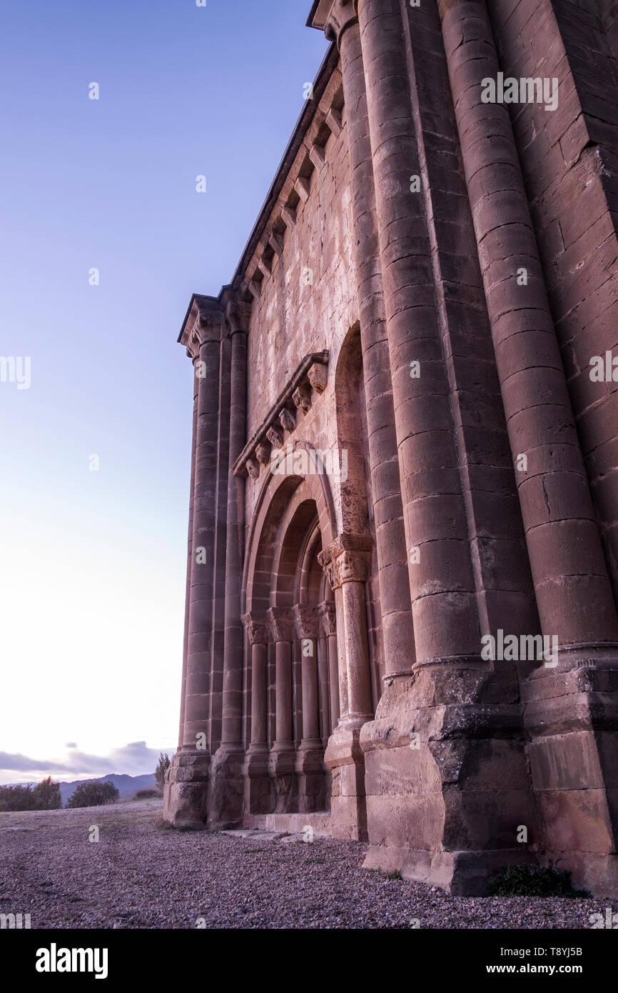 Santiago Church, XII century. Romanesque, Aguero Huesca, Aragon, Spain - Stock Image