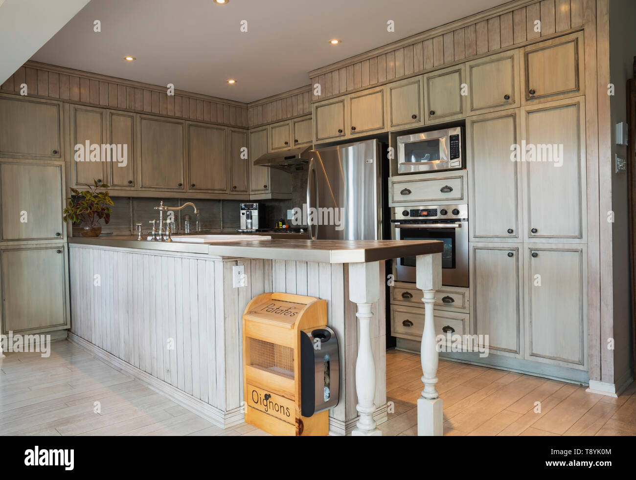 Country Style Kitchen With Grey Faux Finish Cabinets