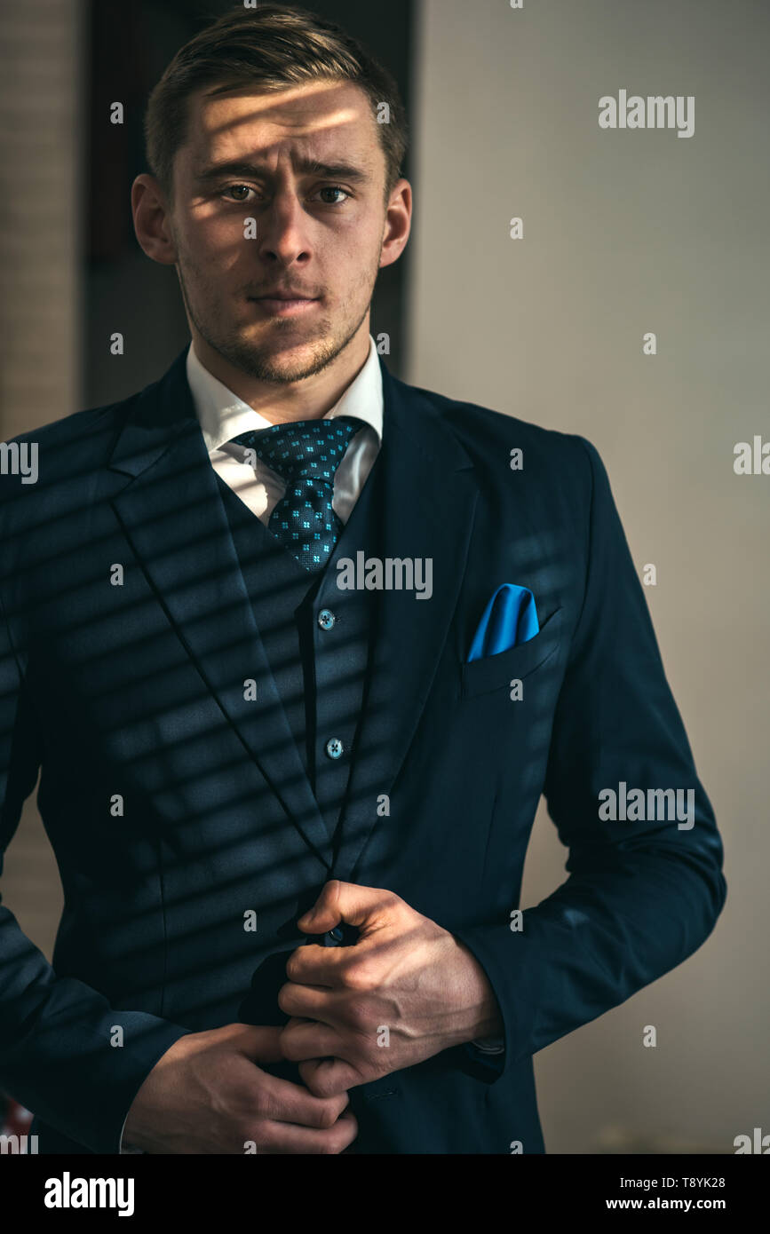 Businessman concept. Confident businessman. Young businessman in formal wear. Successful businessman with classy style. Prosper in life - Stock Image