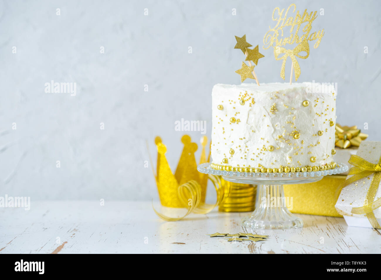Peachy Golden Birthday Concept Cake Presents Decorations Stock Photo Funny Birthday Cards Online Alyptdamsfinfo