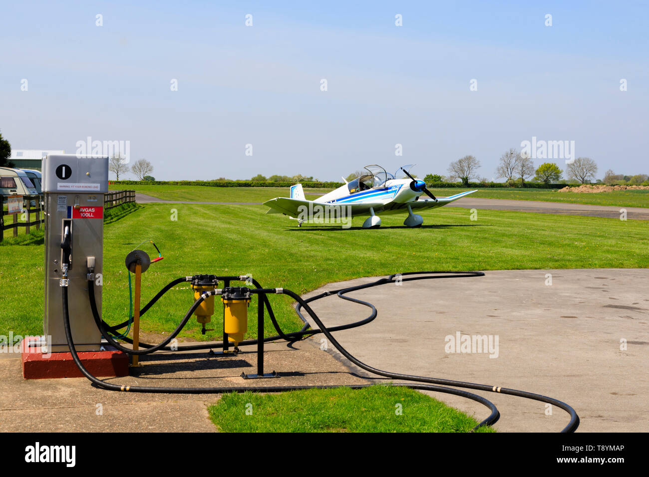 Jodel parked near re-fuelling pumps at the Former RAF Breighton airfield in the East Riding of Yorkshire. Home to the Lincoln Aero Club and the Real A - Stock Image