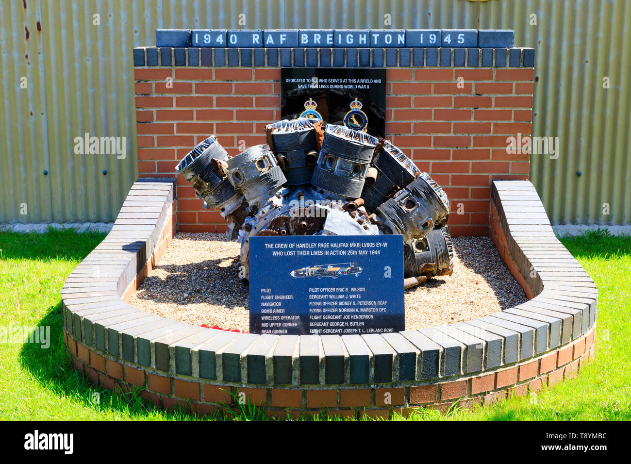 World war 2 memorial dedicated to the crew of Handley Page Halifax bomber LV905 EY-W which crashed on 25th May 1945 with the loss of all crew. Former  - Stock Image
